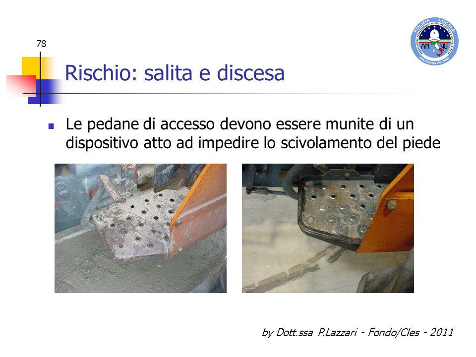 by Dott.ssa P.Lazzari - Fondo/Cles - 2011 78 Rischio: salita e discesa Le pedane di accesso devono essere munite di un dispositivo atto ad impedire lo