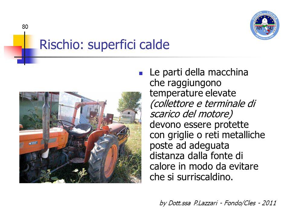 by Dott.ssa P.Lazzari - Fondo/Cles - 2011 80 Rischio: superfici calde Le parti della macchina che raggiungono temperature elevate (collettore e termin