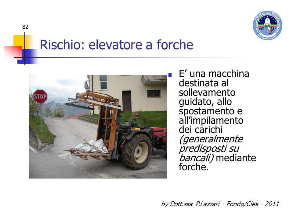 by Dott.ssa P.Lazzari - Fondo/Cles - 2011 82 Rischio: elevatore a forche E una macchina destinata al sollevamento guidato, allo spostamento e allimpil