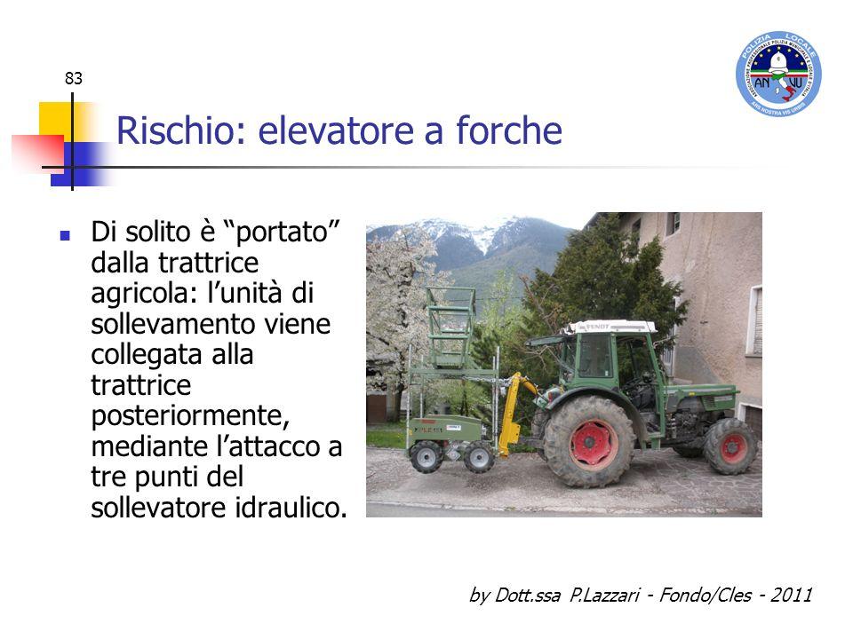 by Dott.ssa P.Lazzari - Fondo/Cles - 2011 83 Rischio: elevatore a forche Di solito è portato dalla trattrice agricola: lunità di sollevamento viene co