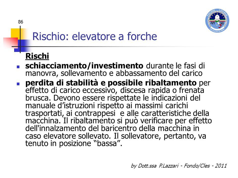 by Dott.ssa P.Lazzari - Fondo/Cles - 2011 86 Rischio: elevatore a forche Rischi schiacciamento/investimento durante le fasi di manovra, sollevamento e