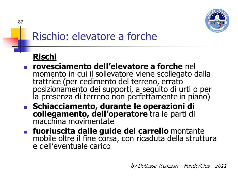 by Dott.ssa P.Lazzari - Fondo/Cles - 2011 87 Rischio: elevatore a forche Rischi rovesciamento dellelevatore a forche nel momento in cui il sollevatore