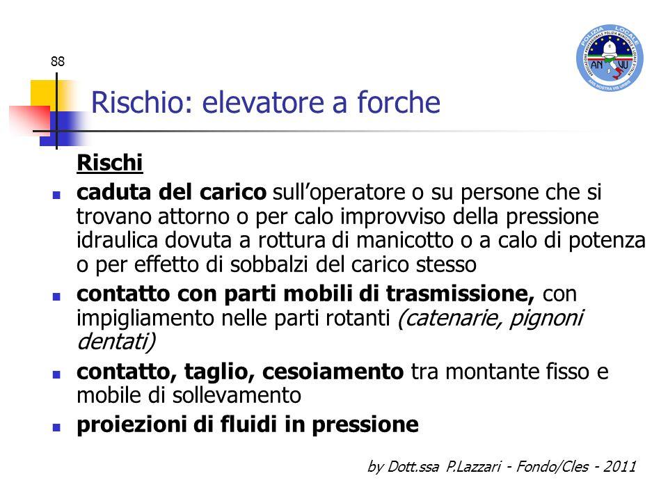 by Dott.ssa P.Lazzari - Fondo/Cles - 2011 88 Rischio: elevatore a forche Rischi caduta del carico sulloperatore o su persone che si trovano attorno o