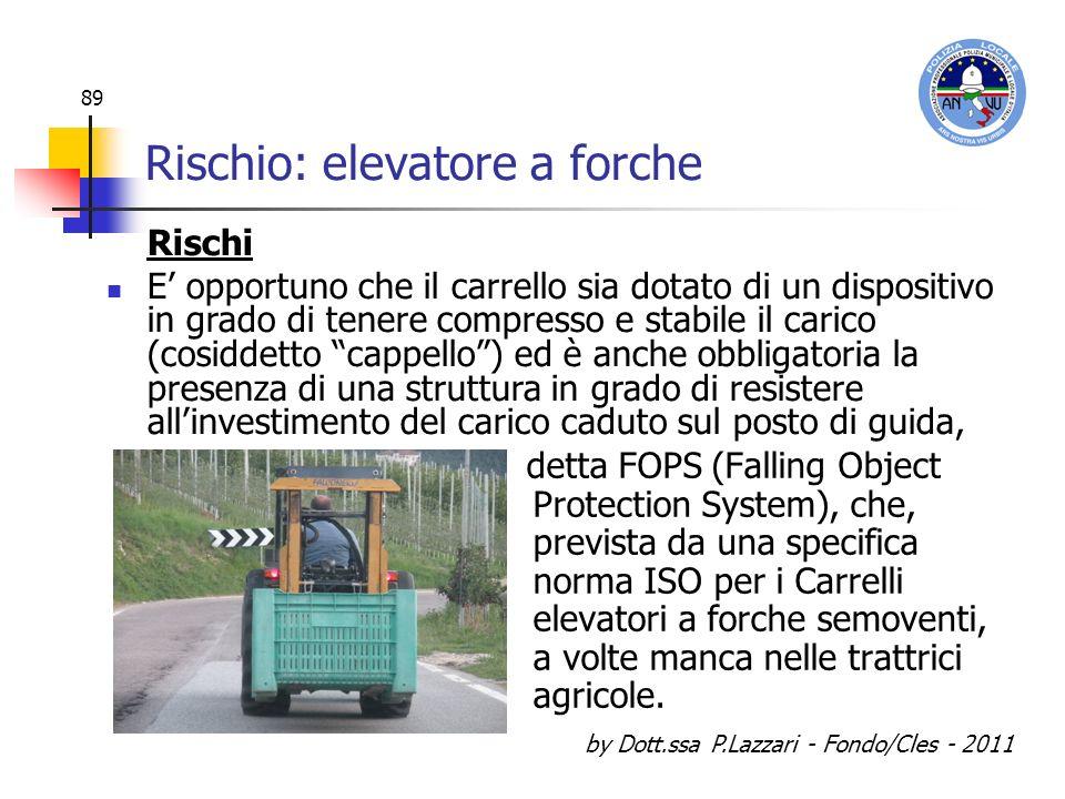 by Dott.ssa P.Lazzari - Fondo/Cles - 2011 89 Rischio: elevatore a forche detta FOPS (Falling Object Protection System), che, prevista da una specifica