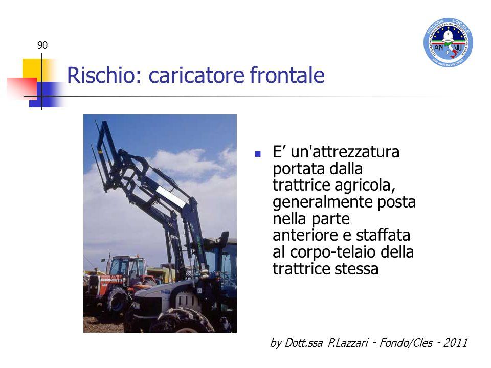 by Dott.ssa P.Lazzari - Fondo/Cles - 2011 90 Rischio: caricatore frontale E un'attrezzatura portata dalla trattrice agricola, generalmente posta nella