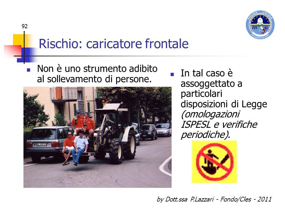 by Dott.ssa P.Lazzari - Fondo/Cles - 2011 92 Rischio: caricatore frontale In tal caso è assoggettato a particolari disposizioni di Legge (omologazioni