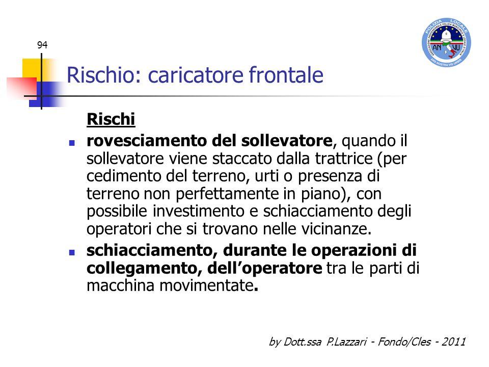 by Dott.ssa P.Lazzari - Fondo/Cles - 2011 94 Rischio: caricatore frontale Rischi rovesciamento del sollevatore, quando il sollevatore viene staccato d