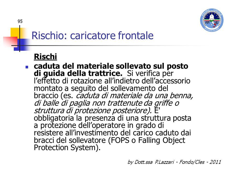 by Dott.ssa P.Lazzari - Fondo/Cles - 2011 95 Rischio: caricatore frontale Rischi caduta del materiale sollevato sul posto di guida della trattrice. Si