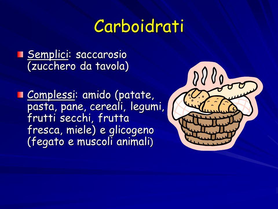Carboidrati Semplici: saccarosio (zucchero da tavola) Complessi: amido (patate, pasta, pane, cereali, legumi, frutti secchi, frutta fresca, miele) e glicogeno (fegato e muscoli animali )