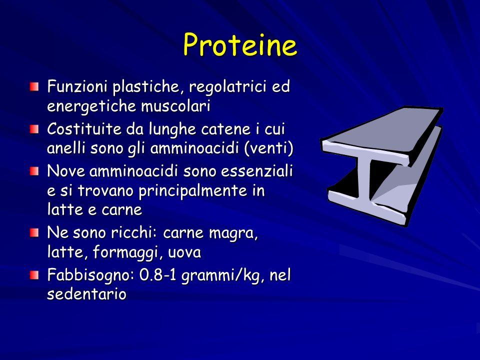 Proteine Funzioni plastiche, regolatrici ed energetiche muscolari Costituite da lunghe catene i cui anelli sono gli amminoacidi (venti) Nove amminoaci
