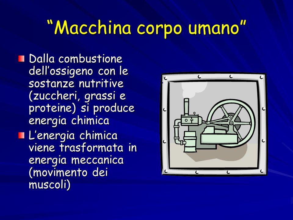 Macchina corpo umano Dalla combustione dellossigeno con le sostanze nutritive (zuccheri, grassi e proteine) si produce energia chimica Lenergia chimic