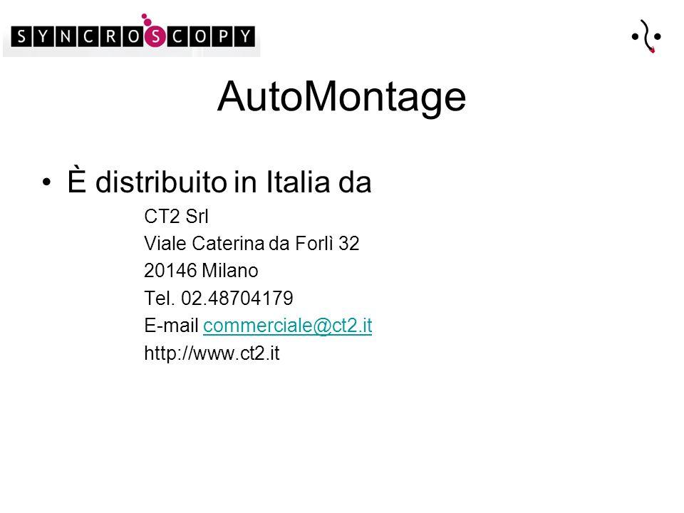AutoMontage È distribuito in Italia da CT2 Srl Viale Caterina da Forlì 32 20146 Milano Tel.