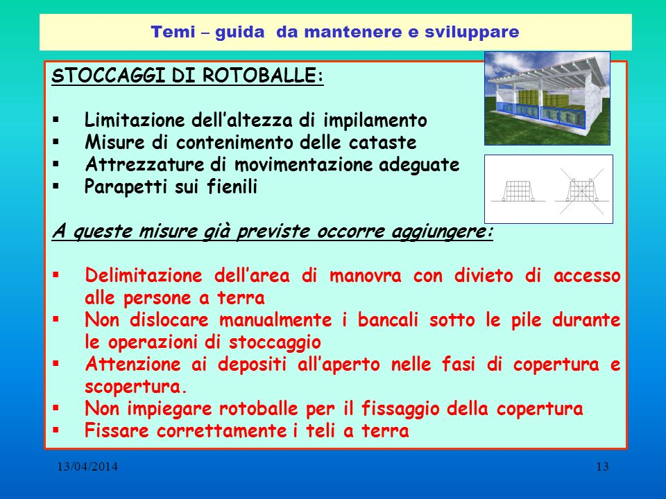 13/04/201413 Temi – guida da mantenere e sviluppare STOCCAGGI DI ROTOBALLE: Limitazione dellaltezza di impilamento Misure di contenimento delle catast