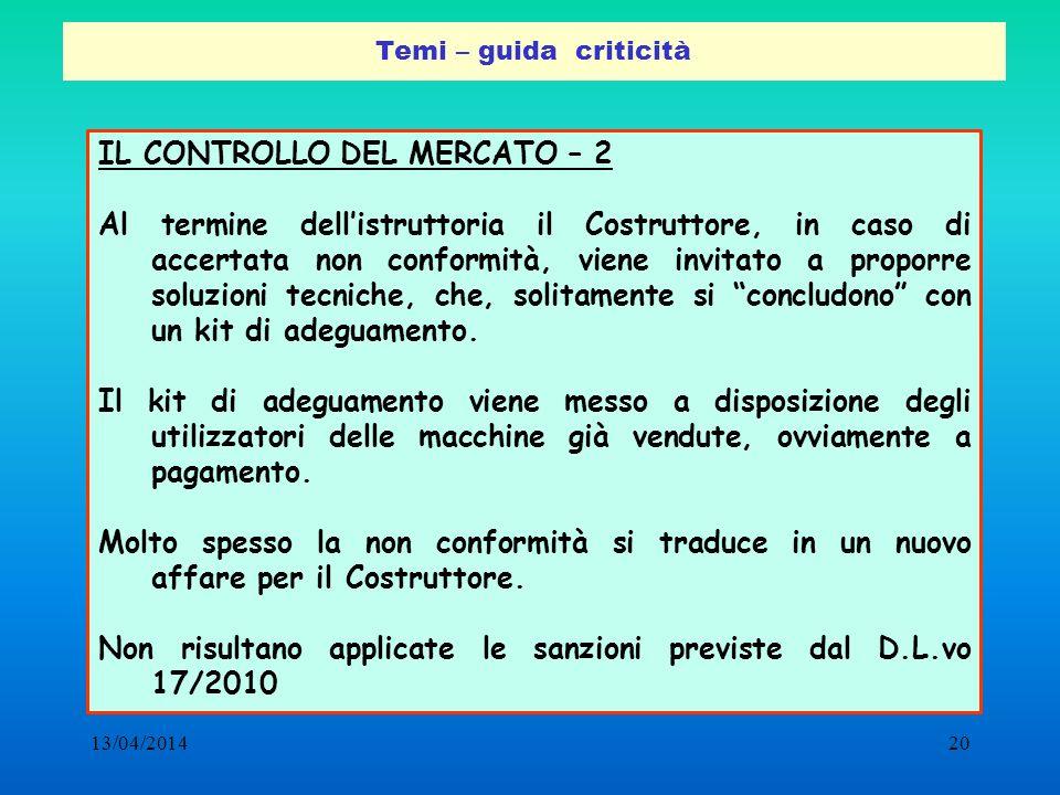 13/04/201420 Temi – guida criticità IL CONTROLLO DEL MERCATO – 2 Al termine dellistruttoria il Costruttore, in caso di accertata non conformità, viene