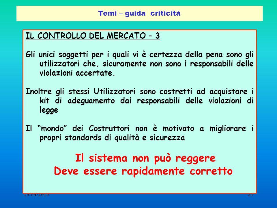 13/04/201421 Temi – guida criticità IL CONTROLLO DEL MERCATO – 3 Gli unici soggetti per i quali vi è certezza della pena sono gli utilizzatori che, si