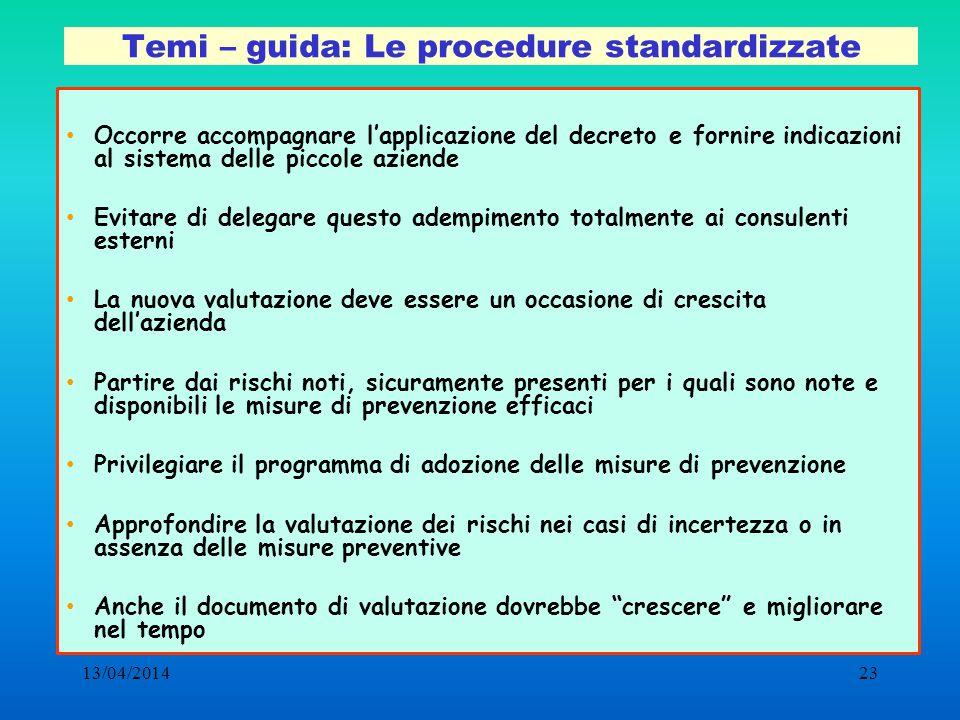 13/04/201423 Temi – guida: Le procedure standardizzate Occorre accompagnare lapplicazione del decreto e fornire indicazioni al sistema delle piccole a