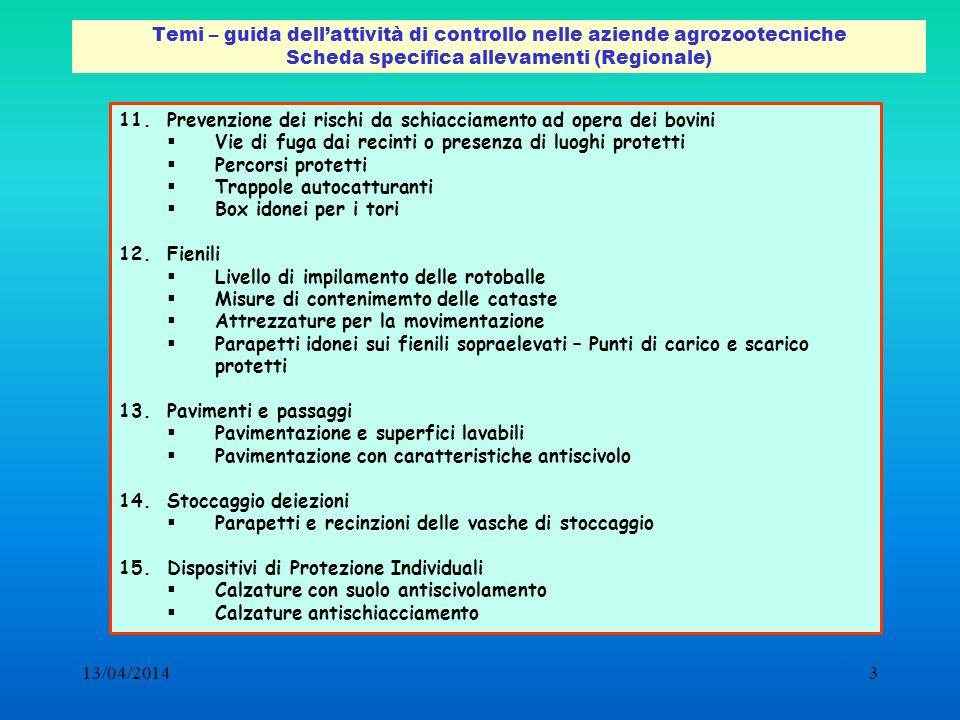 13/04/20143 Temi – guida dellattività di controllo nelle aziende agrozootecniche Scheda specifica allevamenti (Regionale) 11.Prevenzione dei rischi da