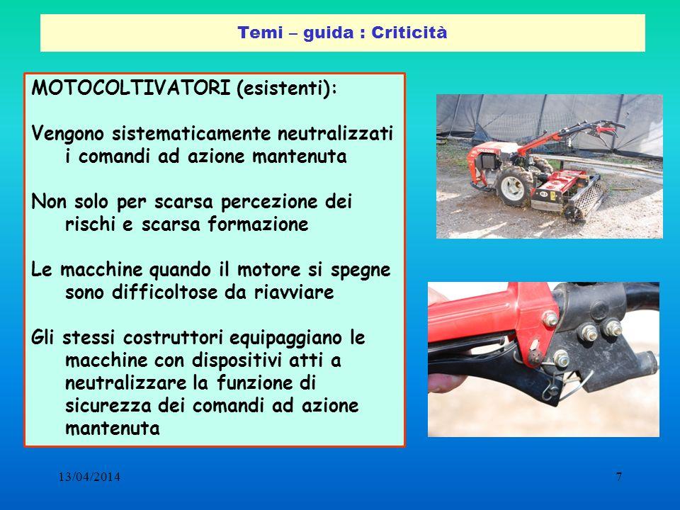13/04/20147 Temi – guida : Criticità MOTOCOLTIVATORI (esistenti): Vengono sistematicamente neutralizzati i comandi ad azione mantenuta Non solo per sc