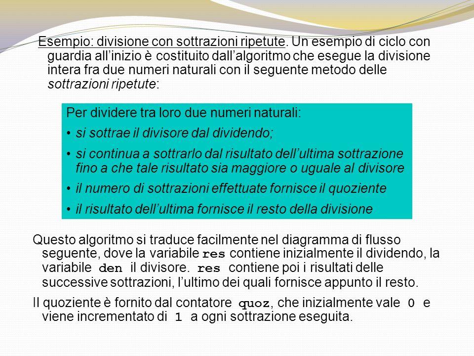 Per dividere tra loro due numeri naturali: si sottrae il divisore dal dividendo; si continua a sottrarlo dal risultato dellultima sottrazione fino a c
