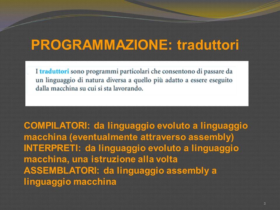 PROGRAMMAZIONE: traduttori 2 COMPILATORI: da linguaggio evoluto a linguaggio macchina (eventualmente attraverso assembly) INTERPRETI: da linguaggio ev