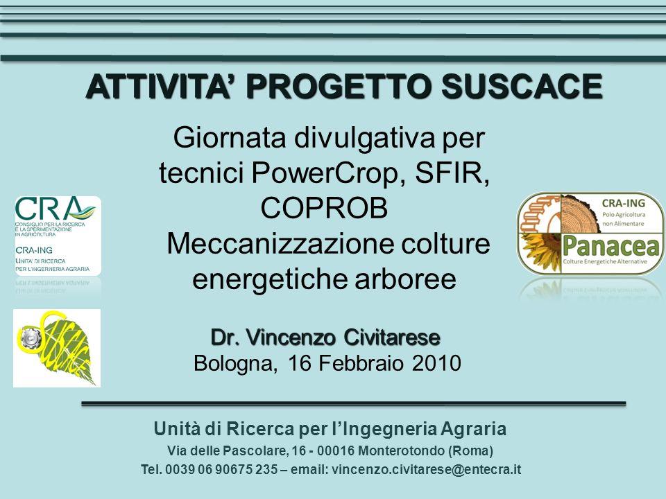 Dr. Vincenzo Civitarese Giornata divulgativa per tecnici PowerCrop, SFIR, COPROB Meccanizzazione colture energetiche arboree Dr. Vincenzo Civitarese B