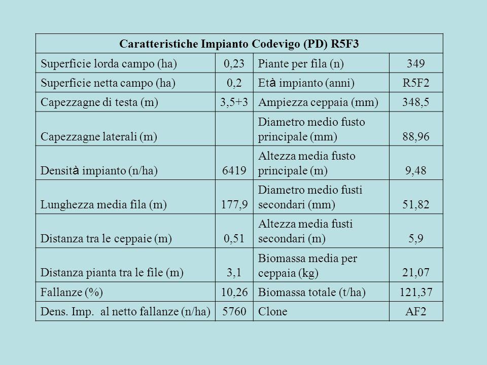 Caratteristiche Impianto Codevigo (PD) R5F3 Superficie lorda campo (ha)0,23Piante per fila (n)349 Superficie netta campo (ha)0,2 Et à impianto (anni)