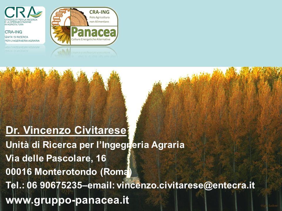 24 Dr. Vincenzo Civitarese Unità di Ricerca per lIngegneria Agraria Via delle Pascolare, 16 00016 Monterotondo (Roma) Tel.: 06 90675235–email: vincenz