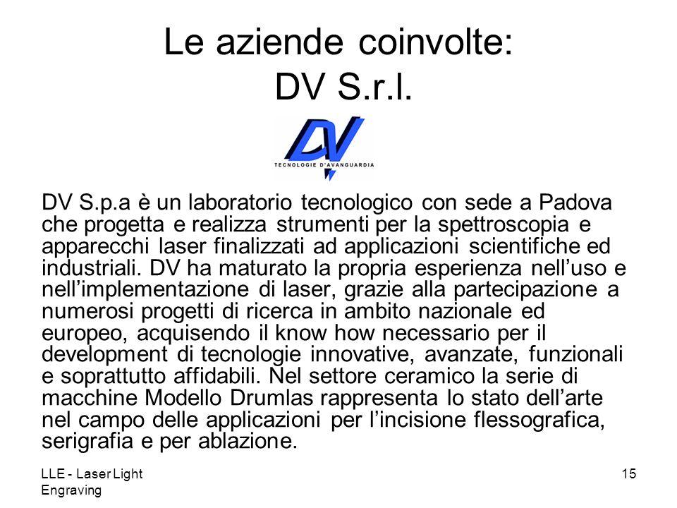 LLE - Laser Light Engraving 15 DV S.p.a è un laboratorio tecnologico con sede a Padova che progetta e realizza strumenti per la spettroscopia e appare