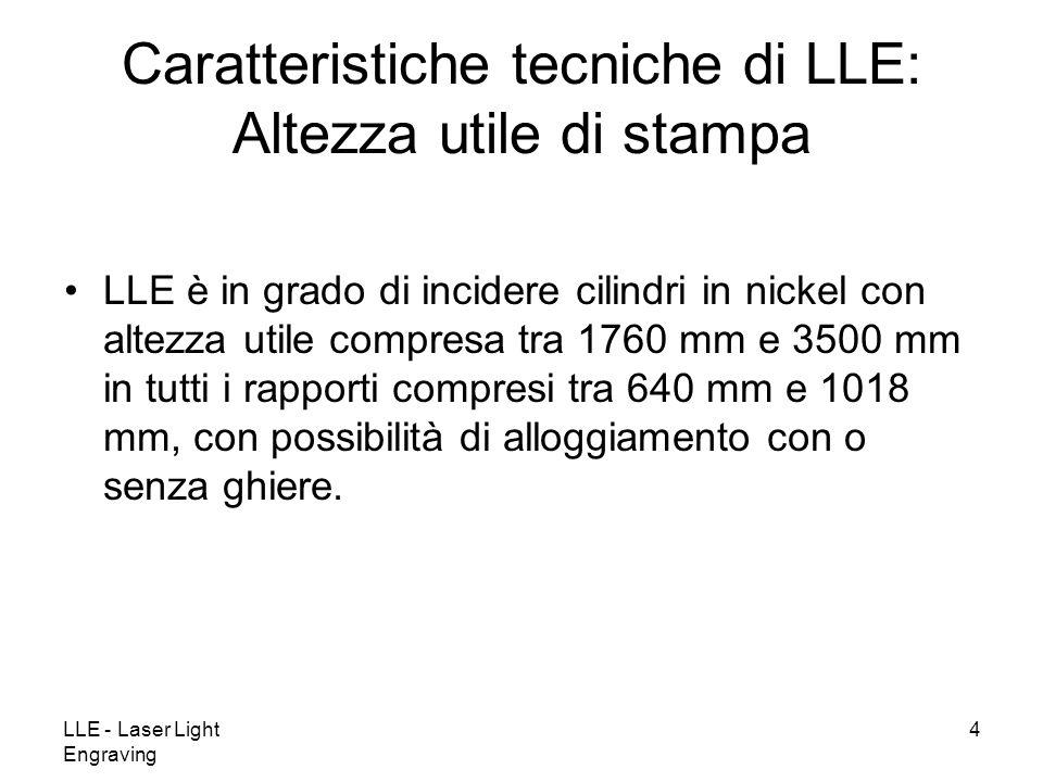 LLE - Laser Light Engraving 4 LLE è in grado di incidere cilindri in nickel con altezza utile compresa tra 1760 mm e 3500 mm in tutti i rapporti compresi tra 640 mm e 1018 mm, con possibilità di alloggiamento con o senza ghiere.