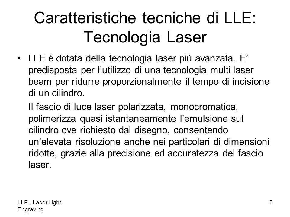 LLE - Laser Light Engraving 5 LLE è dotata della tecnologia laser più avanzata. E predisposta per lutilizzo di una tecnologia multi laser beam per rid