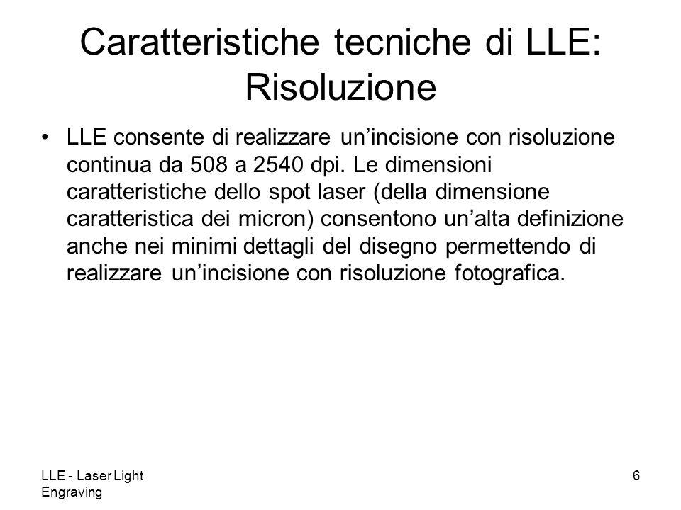 LLE - Laser Light Engraving 6 LLE consente di realizzare unincisione con risoluzione continua da 508 a 2540 dpi. Le dimensioni caratteristiche dello s
