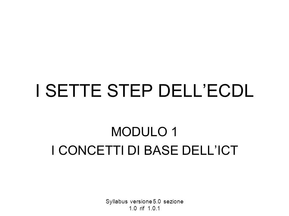 Syllabus versione 5.0 sezione 1.0 rif 1.0.1 I SETTE STEP DELLECDL MODULO 1 I CONCETTI DI BASE DELLICT