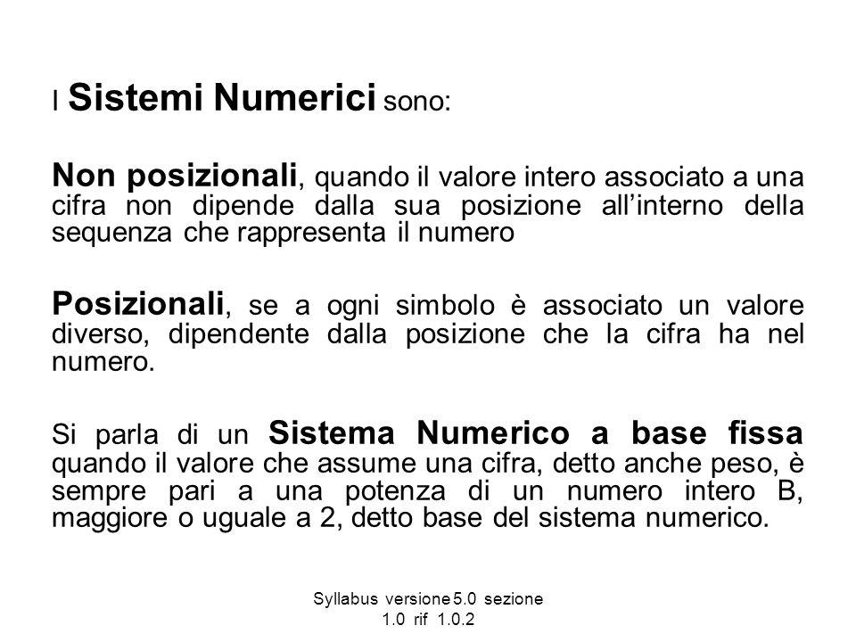 Syllabus versione 5.0 sezione 1.0 rif 1.0.2 I Sistemi Numerici sono: Non posizionali, quando il valore intero associato a una cifra non dipende dalla