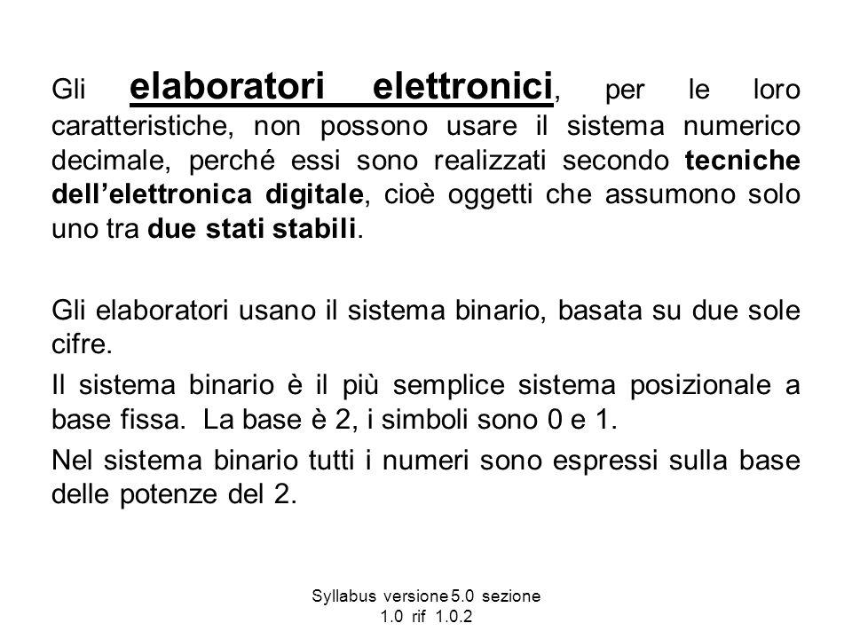 Syllabus versione 5.0 sezione 1.0 rif 1.0.2 Gli elaboratori elettronici, per le loro caratteristiche, non possono usare il sistema numerico decimale,