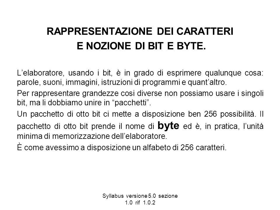 Syllabus versione 5.0 sezione 1.0 rif 1.0.2 RAPPRESENTAZIONE DEI CARATTERI E NOZIONE DI BIT E BYTE. Lelaboratore, usando i bit, è in grado di esprimer