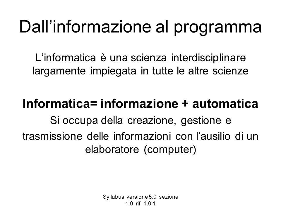 Syllabus versione 5.0 sezione 1.0 rif 1.0.1 Dallinformazione al programma Linformatica è una scienza interdisciplinare largamente impiegata in tutte l