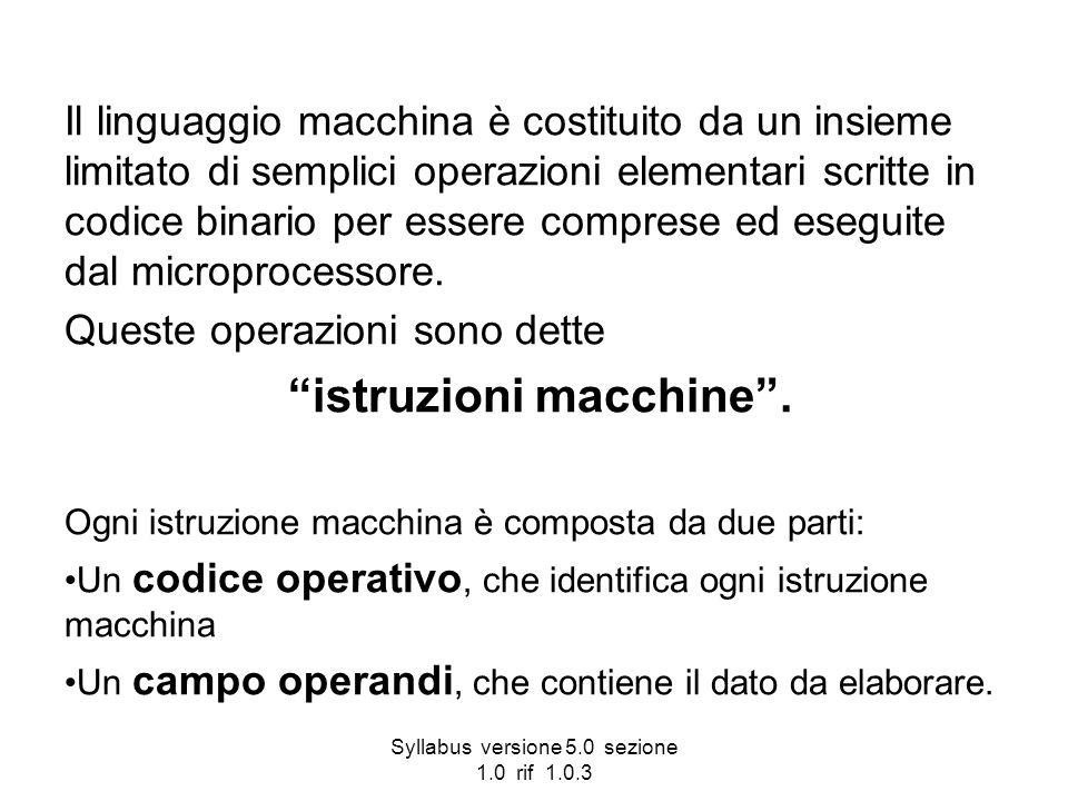 Syllabus versione 5.0 sezione 1.0 rif 1.0.3 Il linguaggio macchina è costituito da un insieme limitato di semplici operazioni elementari scritte in co