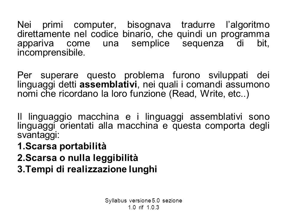 Syllabus versione 5.0 sezione 1.0 rif 1.0.3 Nei primi computer, bisognava tradurre lalgoritmo direttamente nel codice binario, che quindi un programma