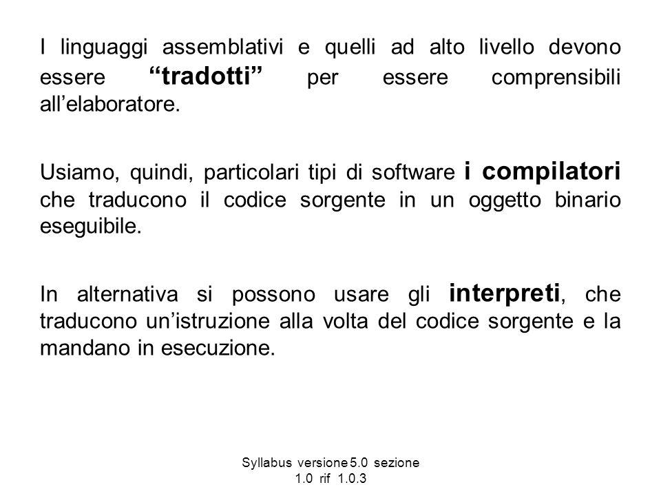 Syllabus versione 5.0 sezione 1.0 rif 1.0.3 I linguaggi assemblativi e quelli ad alto livello devono essere tradotti per essere comprensibili allelabo