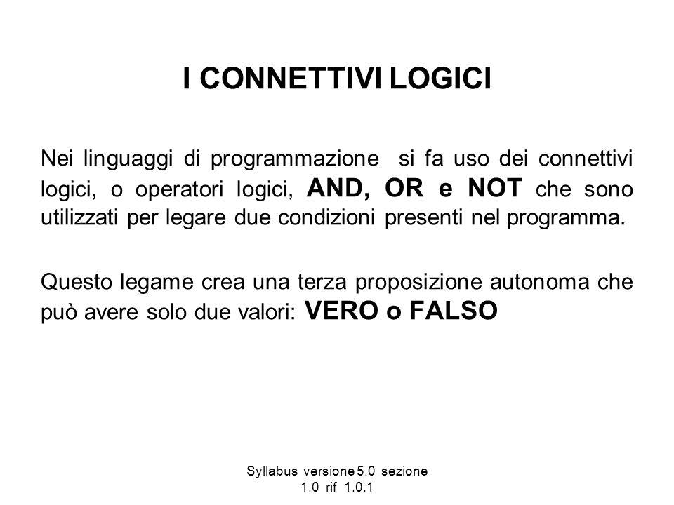 Syllabus versione 5.0 sezione 1.0 rif 1.0.1 I CONNETTIVI LOGICI Nei linguaggi di programmazione si fa uso dei connettivi logici, o operatori logici, A