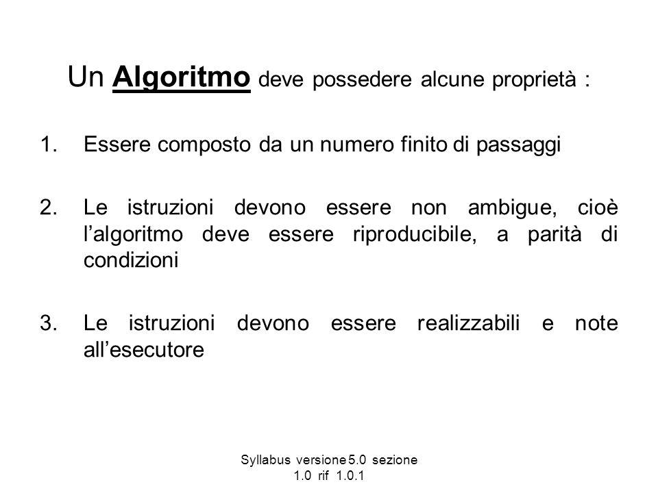 Syllabus versione 5.0 sezione 1.0 rif 1.0.1 Un Algoritmo deve possedere alcune proprietà : 1.Essere composto da un numero finito di passaggi 2.Le istr