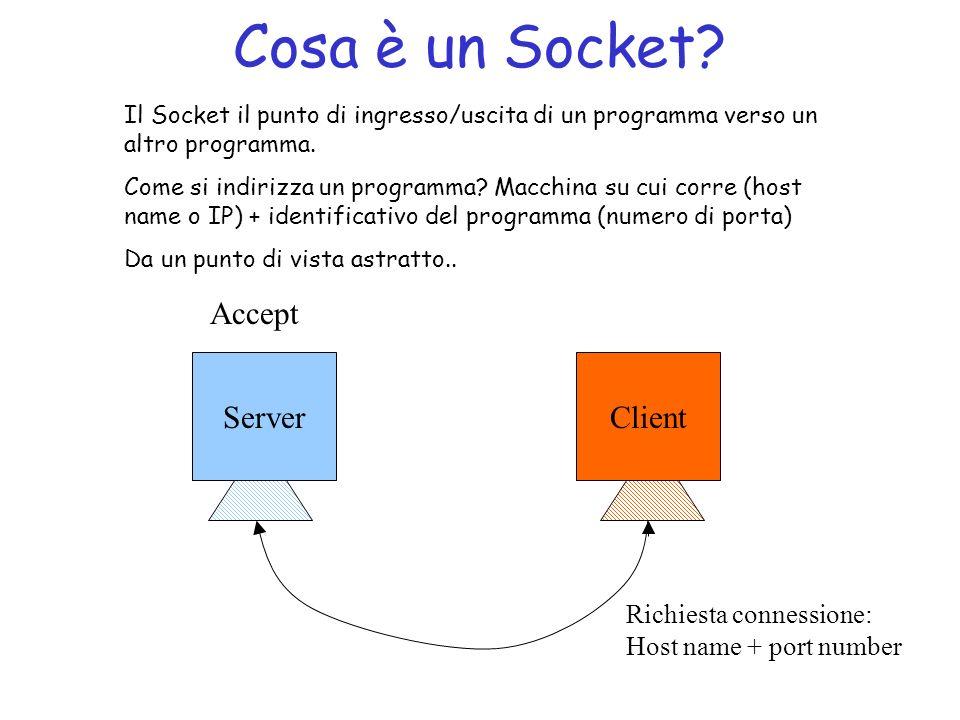 Cosa è un Socket.Il Socket il punto di ingresso/uscita di un programma verso un altro programma.