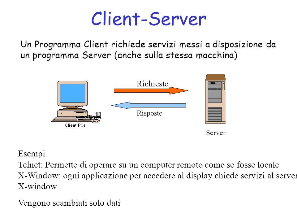 Client-Server Un Programma Client richiede servizi messi a disposizione da un programma Server (anche sulla stessa macchina) Esempi Telnet: Permette di operare su un computer remoto come se fosse locale X-Window: ogni applicazione per accedere al display chiede servizi al server X-window Vengono scambiati solo dati Server Richieste Risposte