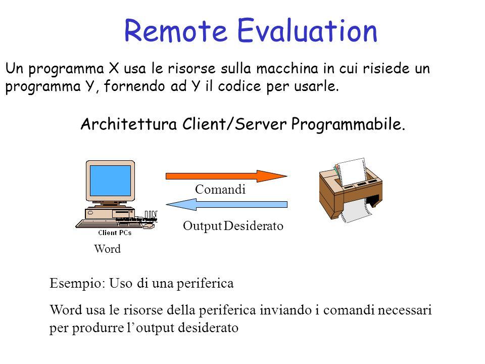 Remote Evaluation Un programma X usa le risorse sulla macchina in cui risiede un programma Y, fornendo ad Y il codice per usarle.