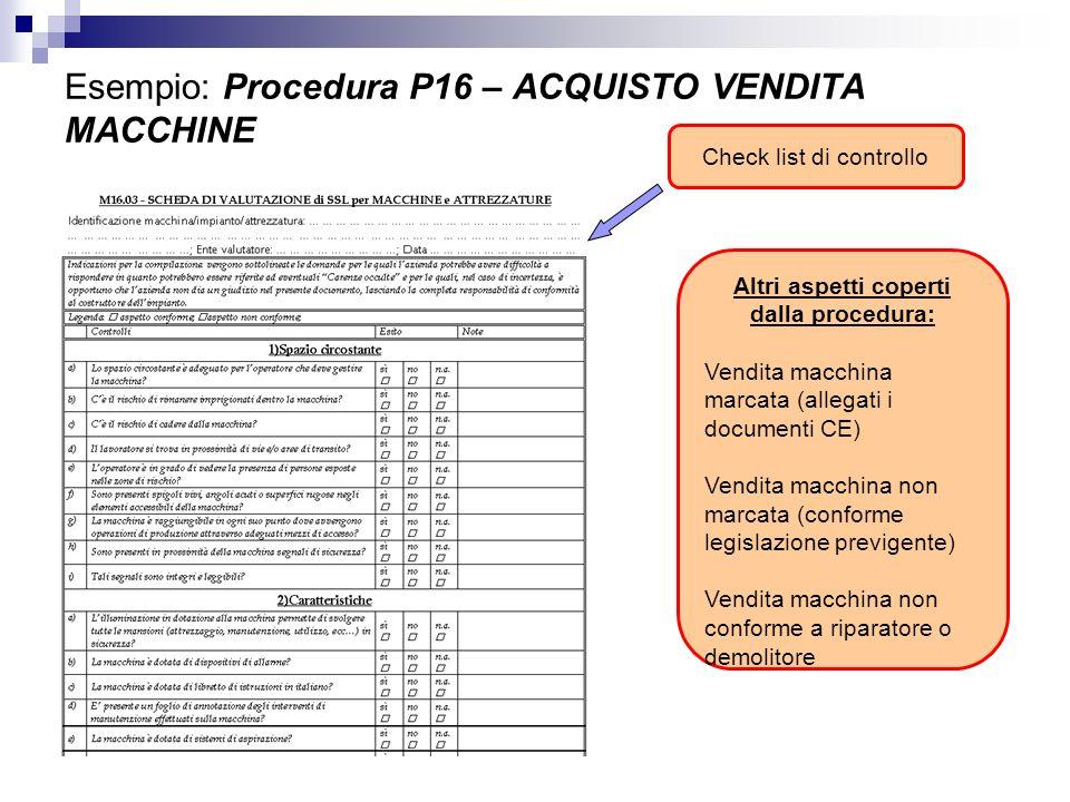 Check list di controllo Altri aspetti coperti dalla procedura: Vendita macchina marcata (allegati i documenti CE) Vendita macchina non marcata (confor