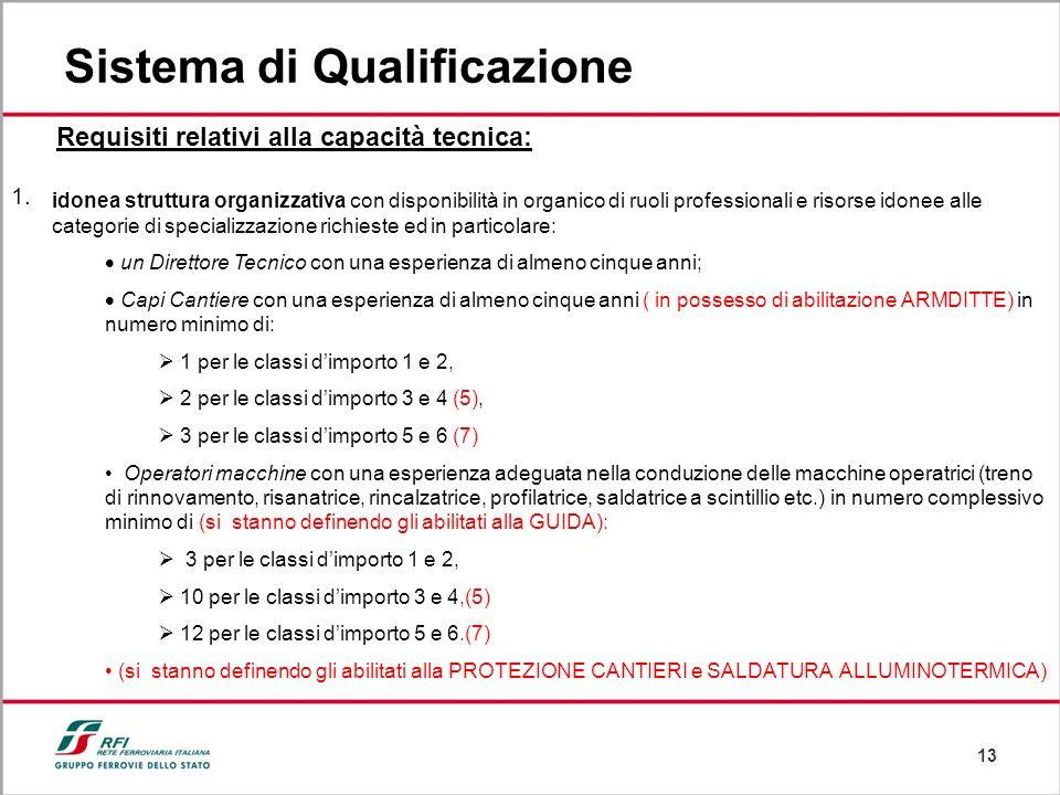 13 Sistema di Qualificazione Requisiti relativi alla capacità tecnica: idonea struttura organizzativa con disponibilità in organico di ruoli professio