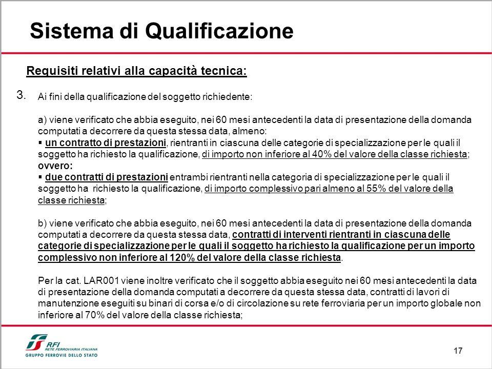 17 Sistema di Qualificazione Requisiti relativi alla capacità tecnica: 3. Ai fini della qualificazione del soggetto richiedente: a) viene verificato c