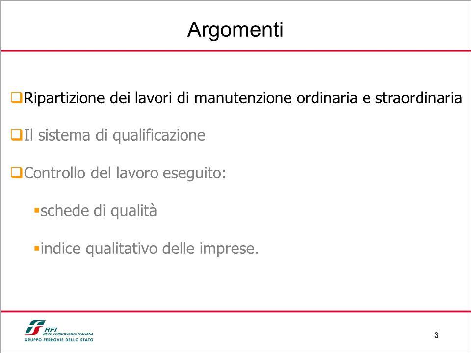 3 Argomenti Ripartizione dei lavori di manutenzione ordinaria e straordinaria Il sistema di qualificazione Controllo del lavoro eseguito: schede di qu