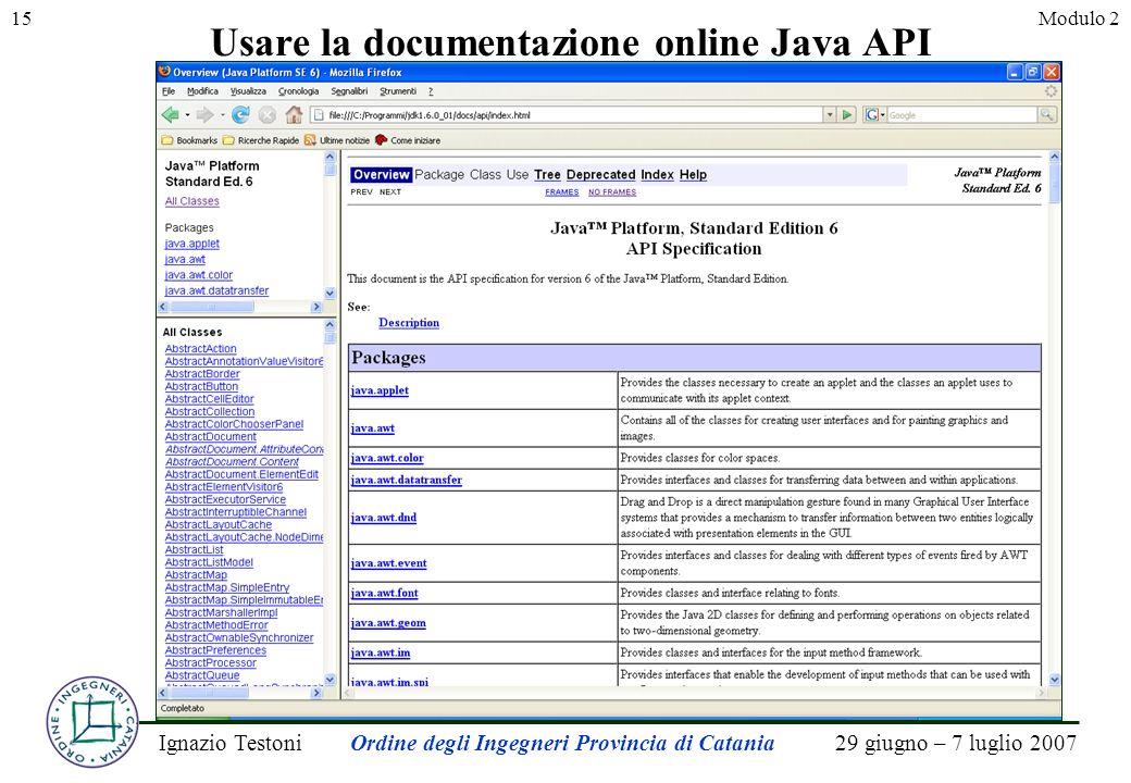 29 giugno – 7 luglio 2007Ignazio TestoniOrdine degli Ingegneri Provincia di Catania 15Modulo 2 Usare la documentazione online Java API