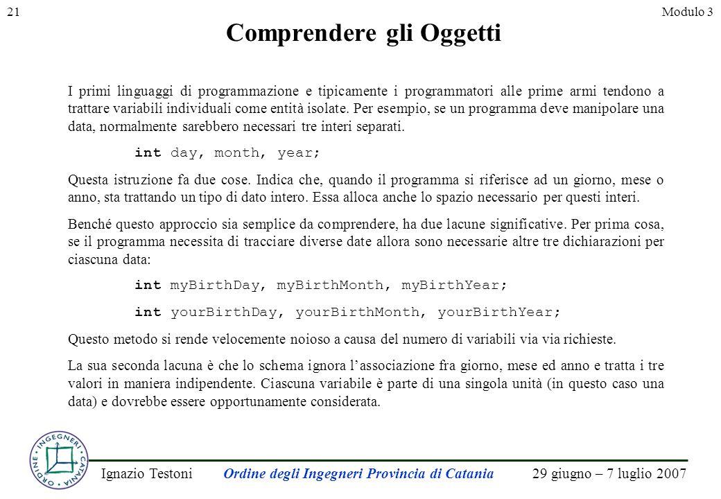 29 giugno – 7 luglio 2007Ignazio TestoniOrdine degli Ingegneri Provincia di Catania 21Modulo 3 Comprendere gli Oggetti I primi linguaggi di programmazione e tipicamente i programmatori alle prime armi tendono a trattare variabili individuali come entità isolate.